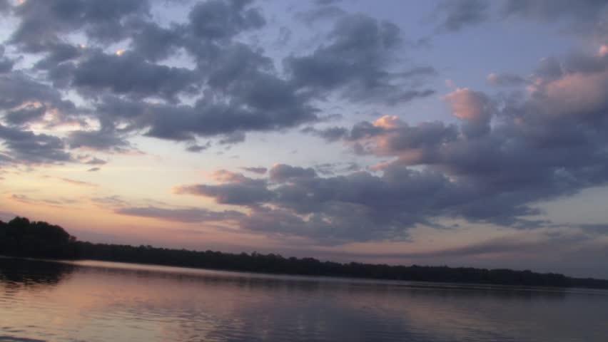 Sunset sunrise on the river