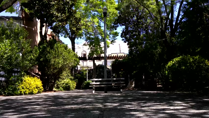 Sonora, California - April, 2015 - UHD static shot of Coffill Park in downtown Sonora.