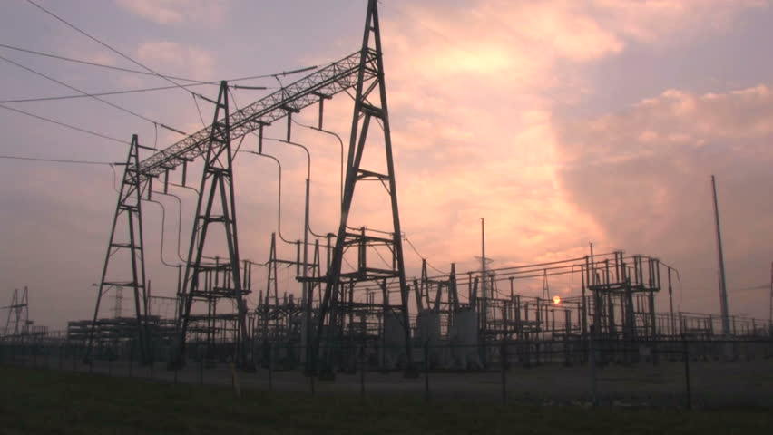 Power Substation Time Lapse - HD stock footage clip