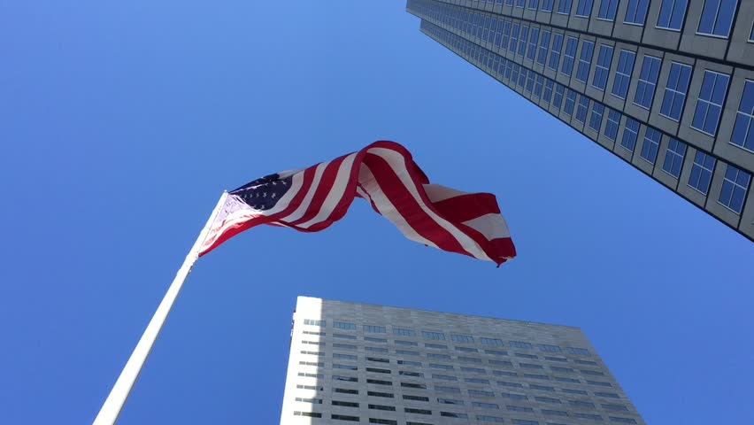 American waving flag in a beautiful day - HD stock video clip