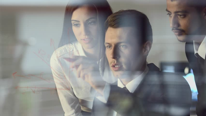 3 in 1 video! The business people work by the virtual glass screen in the modern office. Crane shot with Red Cinema Camera | Shutterstock HD Video #10088666