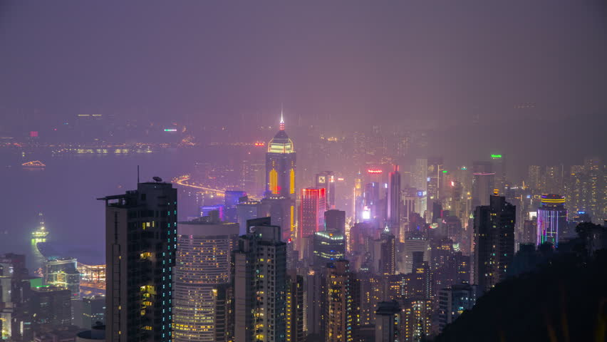 Foggy night view of Hong Kong skyscraper from the peak