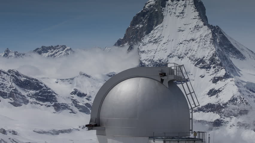 timelapse of the amazing matterhorn and surrounding mountains in the Swiss Alps from the gornergrat hotel and observatory
