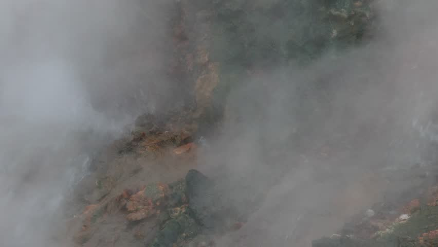 Deildartunguhver, a geothermal hot spring in Reykholtsdalur, Iceland. It is the highest-flow hot spring in Europe (180 liters/second) and water emerges at near boiling. - 4K stock footage clip