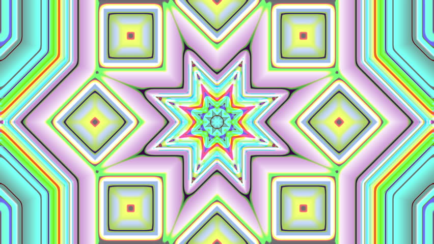 Star Kaleidoscope Loop - 4k Energetic colorful animation of star shapes in a Kaleidoscope form - 4k - 4K stock video clip