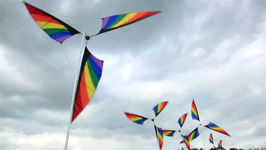Garden Winds Colorful Windmills Spinning In The Wind Stock