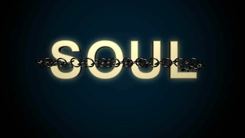 "Concept animation of the text ""Soul"" breaking free from chains"