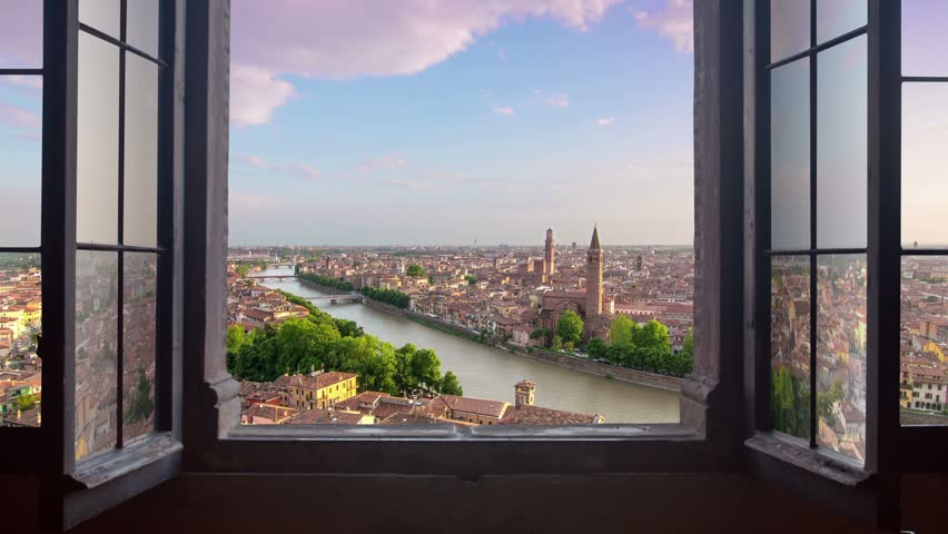 Panoramic view of verona as seen from a window at the sunset,time lapse from day to night  | Shutterstock HD Video #10260044