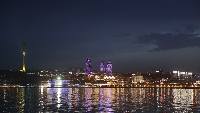 Panorama of seaside boulevard in Baku (Azerbaijan) - HD stock footage clip