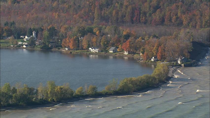 aerial shot over cayuga lake up state new york usa stock. Black Bedroom Furniture Sets. Home Design Ideas