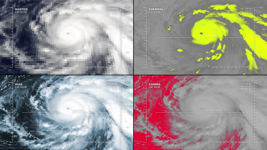 Aerial surveillance drone/UAV flyover of a major hurricane. Reversible, seamless loop. Available in DCI 2K/4K, by request. | Shutterstock HD Video #10342781