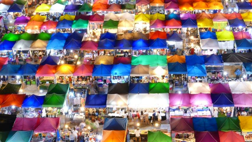 Night market at Bangkok Thailand. Time Lapse. | Shutterstock HD Video #10358774