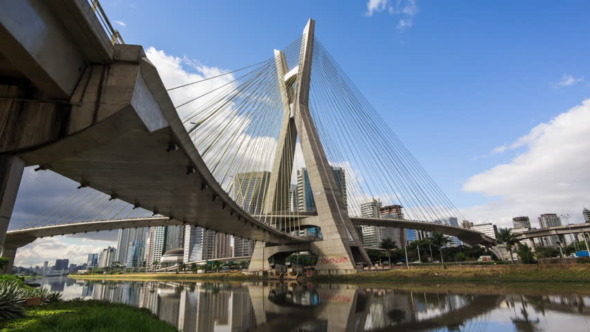 Timelapse view of the Octavio Frias de Oliveira cable-stayed bridge, or Ponte Estaiada, in Sao Paulo, Brazil - zoom in. #10362032
