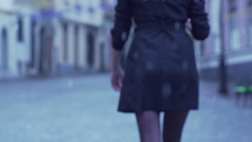 Slow Motion Rear View Of Elegant Woman Walking In City On Rainy Day | Shutterstock HD Video #10379465