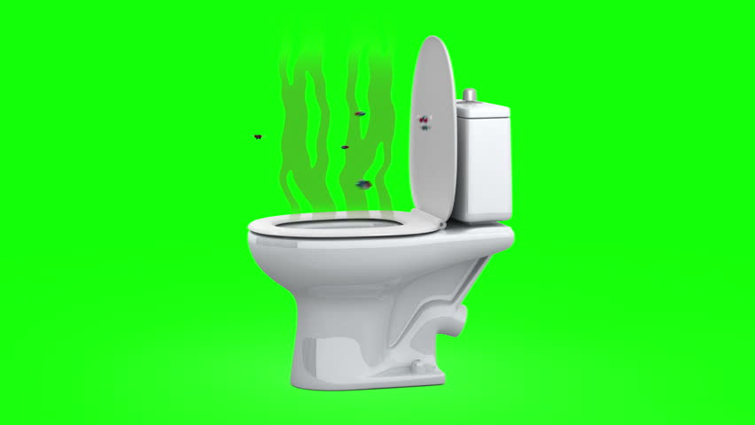 Diving Into The Toilet 3d Animation Green Screen Stock