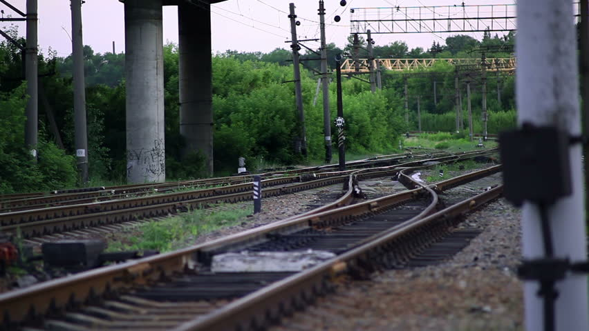 The Railroad Tracks with Pillars. Translation Focus - HD stock footage clip