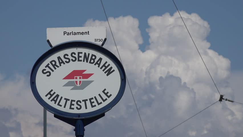 VIENNA - AUSTRIA, JULY 16, 2014, ULTRA HD 4K Closeup of Parlament station street sign by day - 4K stock footage clip