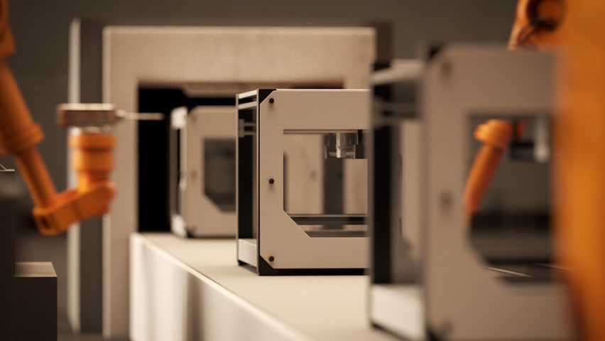 02286 Robotic Arm Assembling 3d Printer On Conveyor Belt