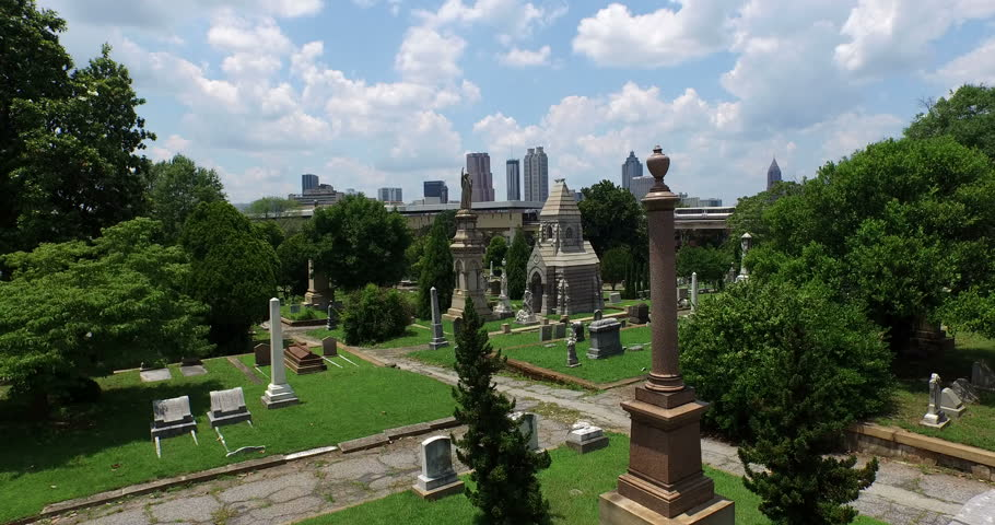Aerial Footage of Downtown Atlanta Shot from Oakland Cemetery 06-07-2015
