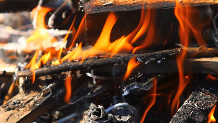 burning wooden beams, close-up - HD stock footage clip