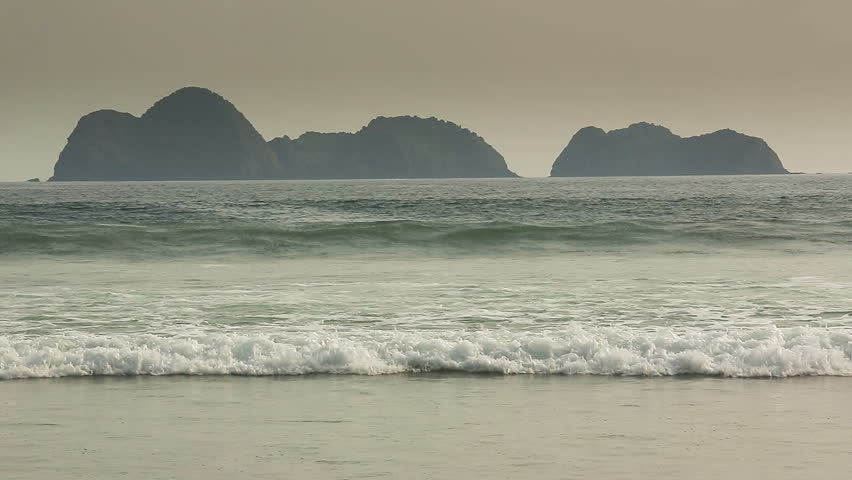 Long coastline of Merah Beach in Banyuwangi,Java, Indonesia - HD stock video clip