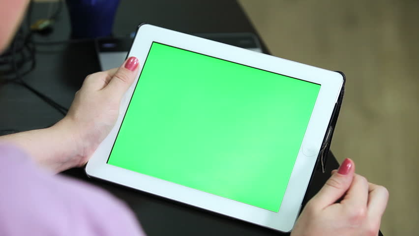 Gestures for the tablet and touchpad: hands swiping top from the down, green screen chromakey | Shutterstock HD Video #10491596