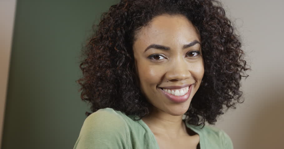 Cute Black Woman Smiling And Laughing At Camera Stock