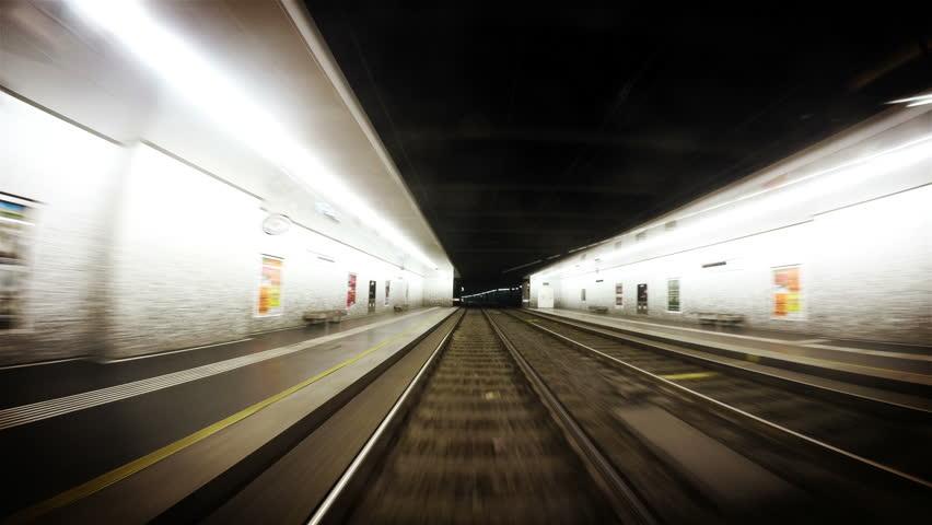 VIENNA, AUSTRIA - MARCH 8: Underground Tram timelapse footage, Vienna on March 08, 2015 in Vienna, Austria