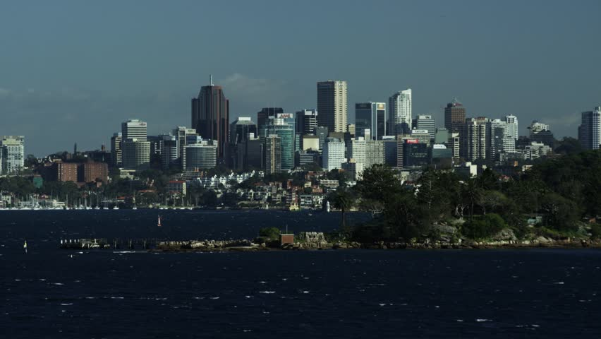 View of North Sydney from Vaucluse including Bradleys Head in Australia | Shutterstock HD Video #10504826