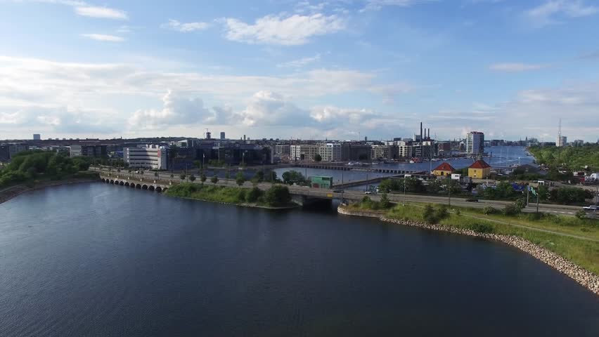 Aerial view of Sjaellandsbroen located in Copenhagen, Denmark  | Shutterstock HD Video #10509623