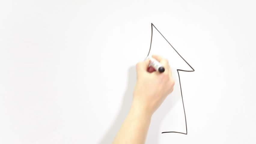 Human Caucasian hand drawing up arrow on white background, copyspace