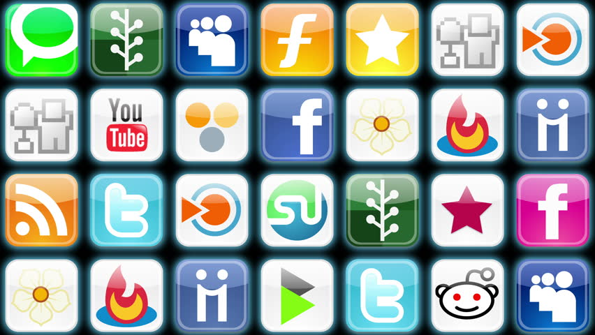 Editorial Animation: Social Media 001 - A grid of alternating social media icons (Loop).