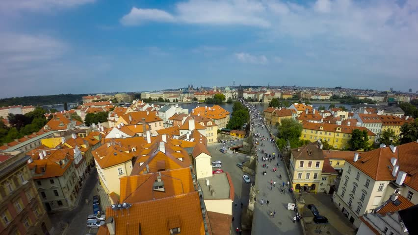 Charles Bridge (Karluv Most) and Prague Castle, Czech Republic. time lapse