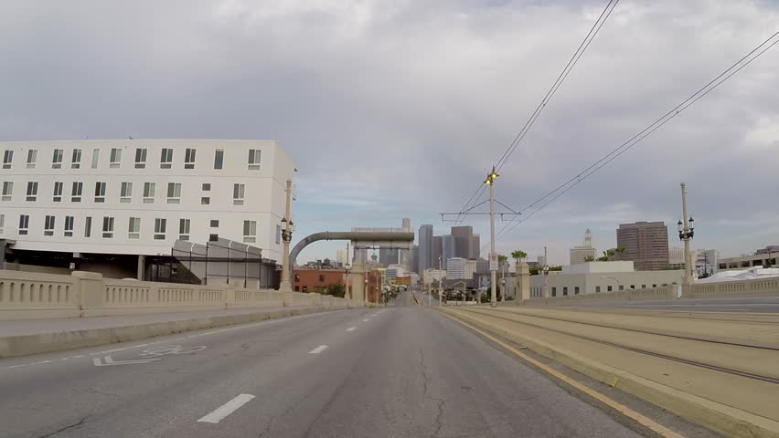 Los Angeles driving rear view on the 1st street bridge east of downtown.   - HD stock video clip
