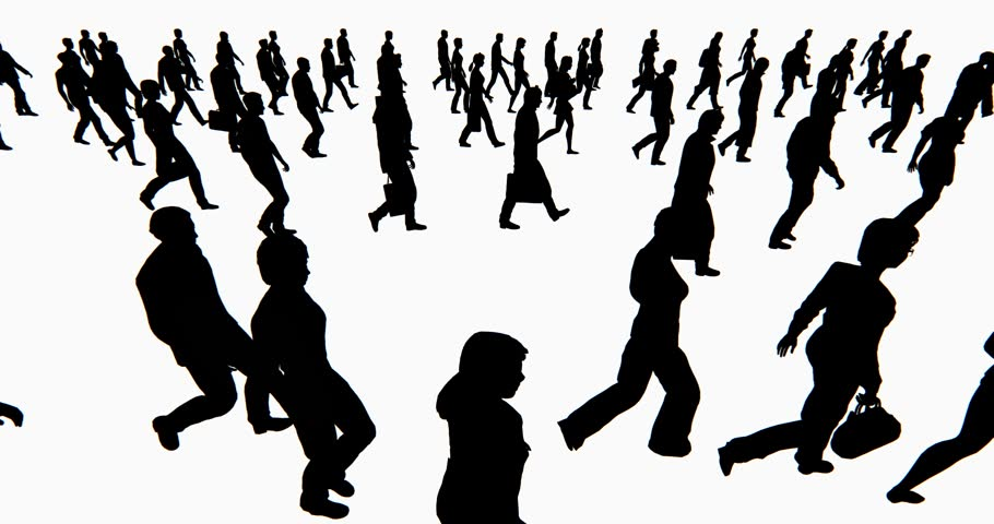 Walking People In The Crowd Left View In One Direction Stock Footage ... Unique Person In A Crowd