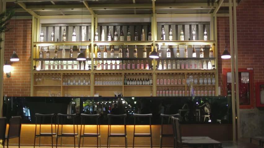 BANGKOK,THAILAND - CIRCA June 2015 :empty chic sake bar at Asiatique waterfront - HD stock video clip