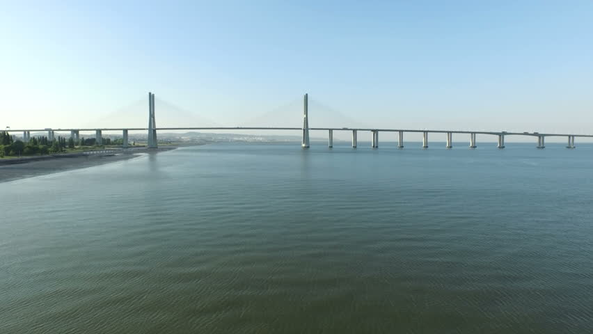 Aerial from the Vasco da Gama Bridge in Lisbon Portugal - HD stock footage clip