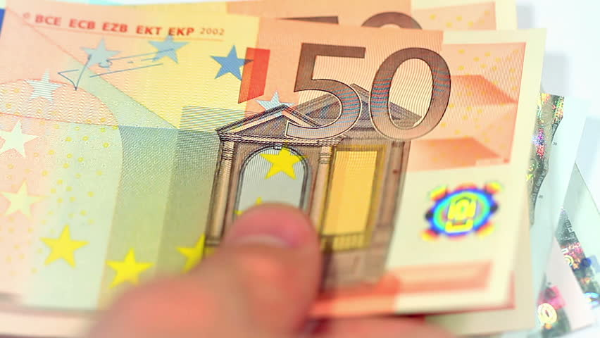 Counting Euro Banknotes. Paying money or being payed. Perfect for any financial, commerce, treasury or banking video needs.