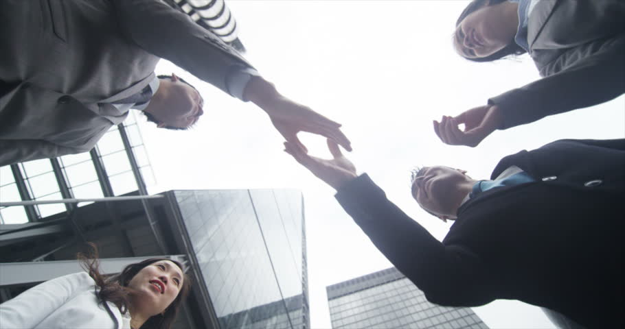 4K Low angle view looking up, 2 Asian business teams meet and shake hands in the #10624805