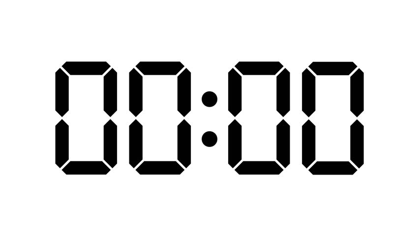 digital clock count from zero to sixty - full hd