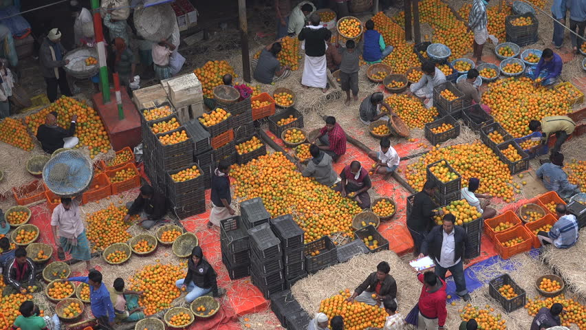 KOLKATA, INDIA - 12 DECEMBER 2014: High angle view of a busy fruit (orange) wholesale market in central Kolkata.