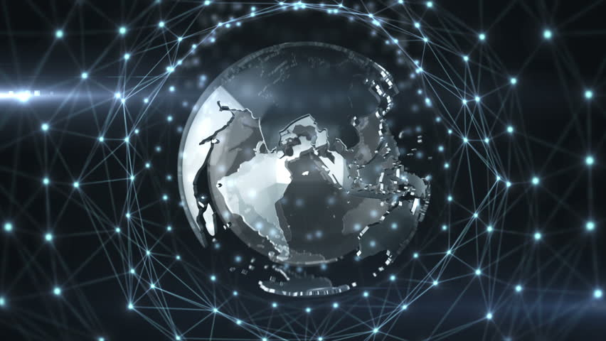 Abstract background of technology network with rotation of glassed earth globe. Animation of rotation abstract lines and dots linking network with numbers counters. Animation of seamless loop. | Shutterstock HD Video #10745585
