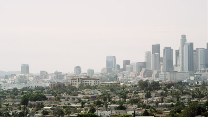 Los Angeles, California/ October - 2014: Panning view of Los Angeles with a smoggy sky. | Shutterstock HD Video #10770704