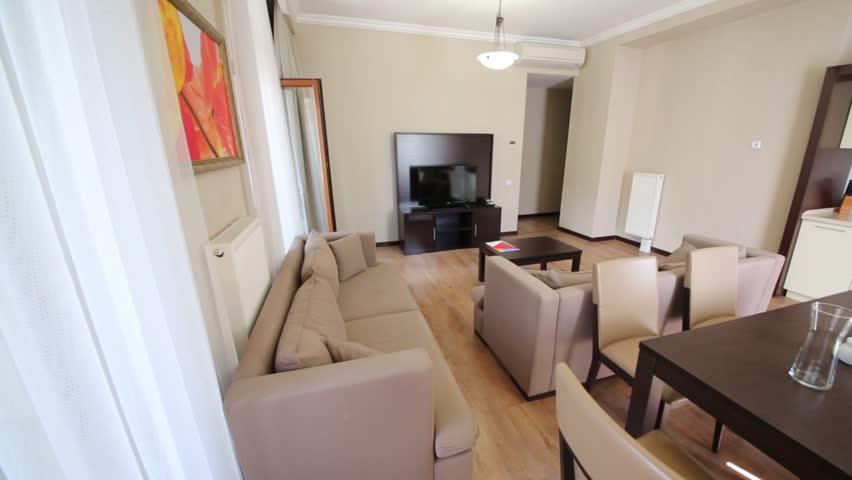 SOCHI, RUSSIA - JUN 30, 2014: Living room in Apartment in Gorki Gorod. Gorki Gorod - all-season resort town - HD stock footage clip