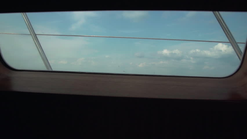 sea view from the yacht window - HD stock video clip