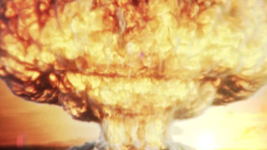 mas iv nuclear bomb explosion creates a mushroom cloud, very dramatic scene... HD