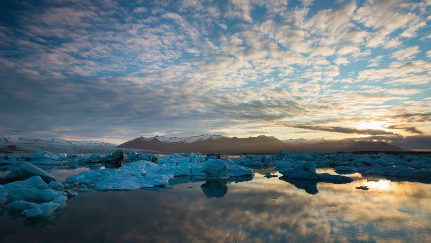 Perfect Time Lapse of Melting Icebergs in Iceland Glacier Lagoon #10843001