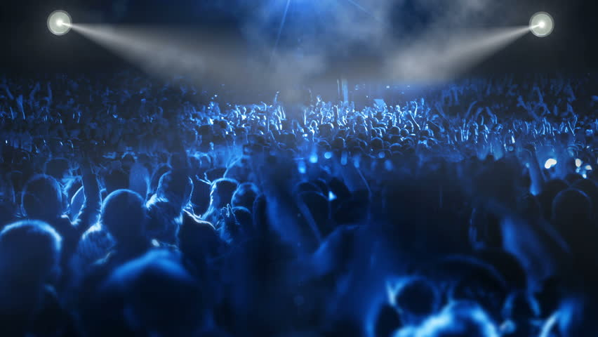 crowded music concert stage (tilt camera) +10 - HD stock video clip