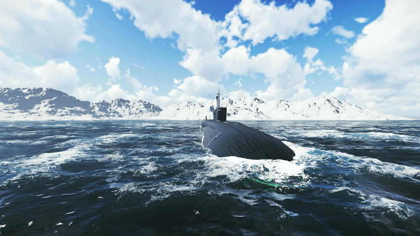 Front close up view of the russian nuclear-powered submarine Borei at sea. Realistic three dimensional animation. - 4K stock video clip