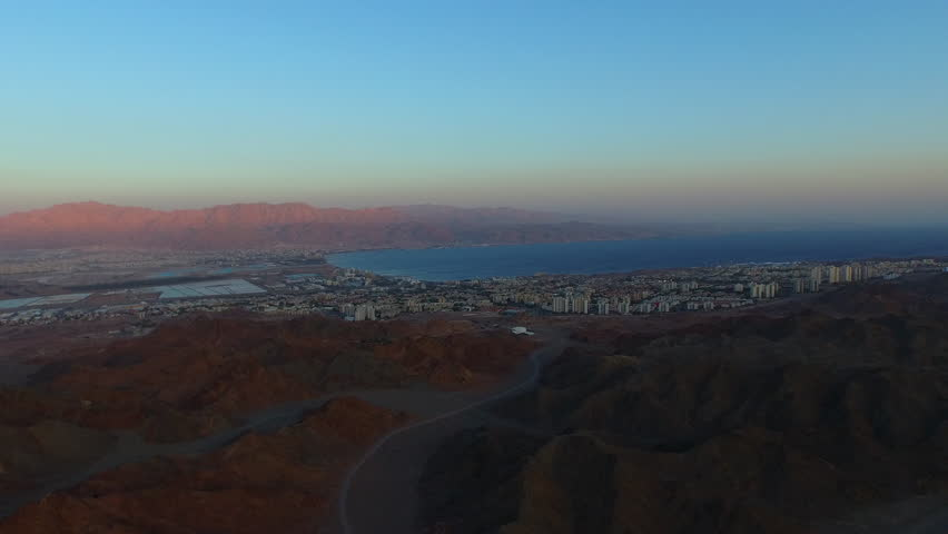 EILAT, ISRAEL- CIRCA MARCH, 2015: Aerial of Eilat and the surrounding region in the southern most tip of Israel.  | Shutterstock HD Video #10882385